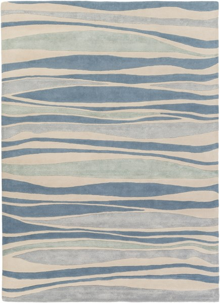Lighthouse Coastal Beige Teal Moss Wool Area Rug ( L 132 X W 96 ) LTH7030-811