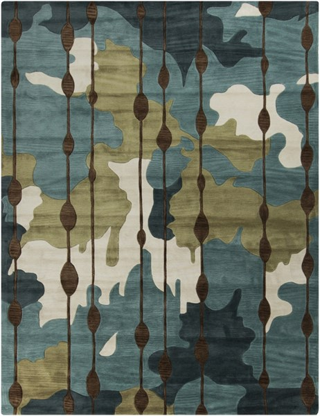 Lava Olive Chocolate Beige Polyester Area Rug ( L 126 X W 96 ) LVA8009-8106