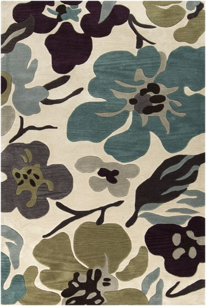 Lava Ivory Black Light Gray Polyester Area Rug - 60 x 90 LVA8018-576