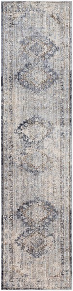 Surya Liverpool Charcoal Medium Gray White Polyester Runner 123 x 31 LVP2301-27103
