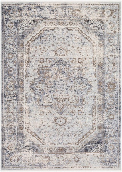 Surya Liverpool Charcoal Medium Gray Ivory Polyester Area Rug 36 x 24 LVP2302-23