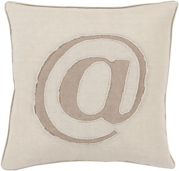 Linen Text Ivory Taupe Poly Linen Throw Pillow - 20x20x5 LX001-2020P