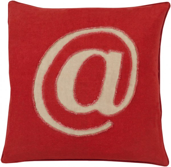 Linen Text Cherry Beige Down Linen Throw Pillow - 22x22x5 LX002-2222D