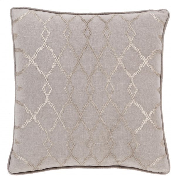 Lydia Taupe Gray Fabric Throw Pillow (L 20 X W 20 X H 5) LY005-2020P