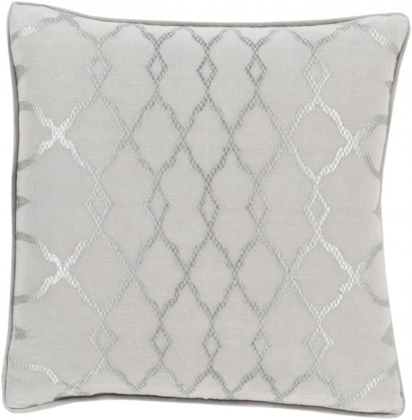 Lydia Gray Ivory Fabric Throw Pillow (L 18 X W 18 X H 4) LY006-1818D