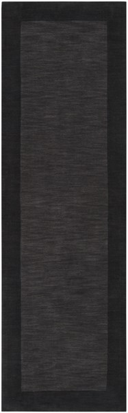 Mystique Contemporary Charcoal Black Wool Runner (L 96 X W 30) M347-268