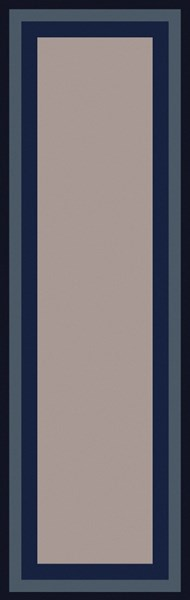 Mystique Contemporary Gray Navy Olive Wool Runner (L 96 X W 30) M5415-268