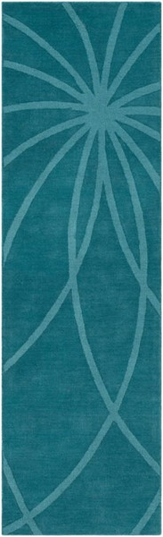 Surya Mystique Teal Wool Geometric Runner 96 x 30 M5461-268