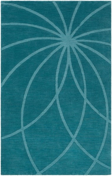 Surya Mystique Teal Wool Geometric Area Rug 96 x 60 M5461-58