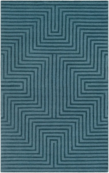 Surya Mystique Teal Wool Hand Made Area Rug 132 x 96 M5466-811