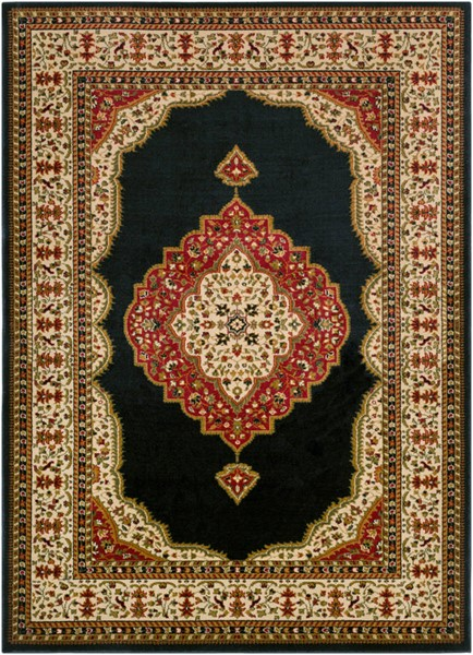 Surya Marash Black Khaki Dark Red Polypropylene Area Rug 87 x 63 MAH4600-5373