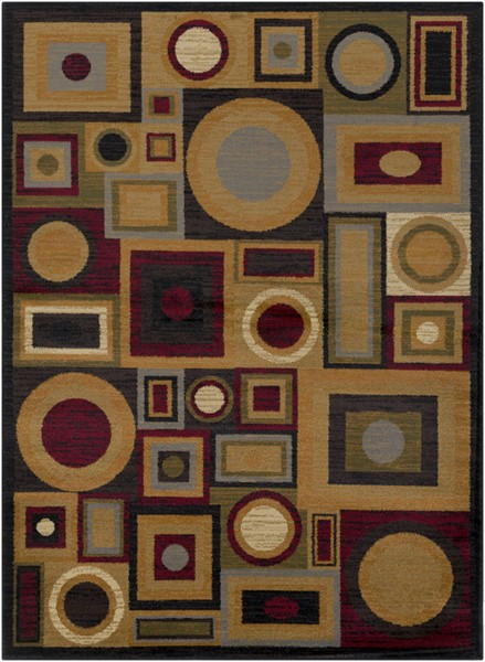 Surya Marash Dark Red Tan Olive Polypropylene Area Rug 87 x 63 MAH4613-5373