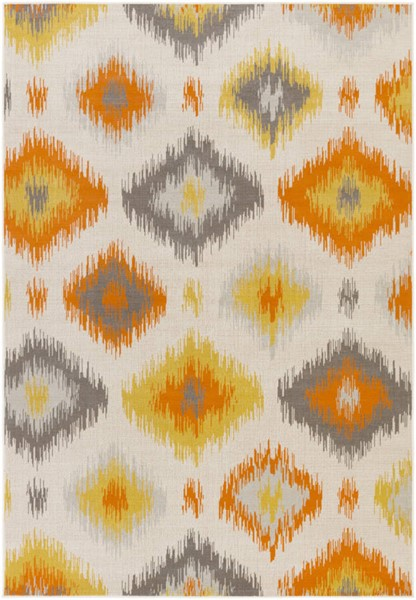 Surya Mavrick Ivory Light Gray Bright Orange Persian Area Rug 90 x 63 MAV7033-5376
