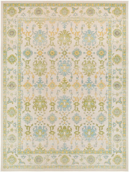 Surya Mavrick Ivory Sky Blue Lime Machine Made Area Rug 126 x 94 MAV7034-710106
