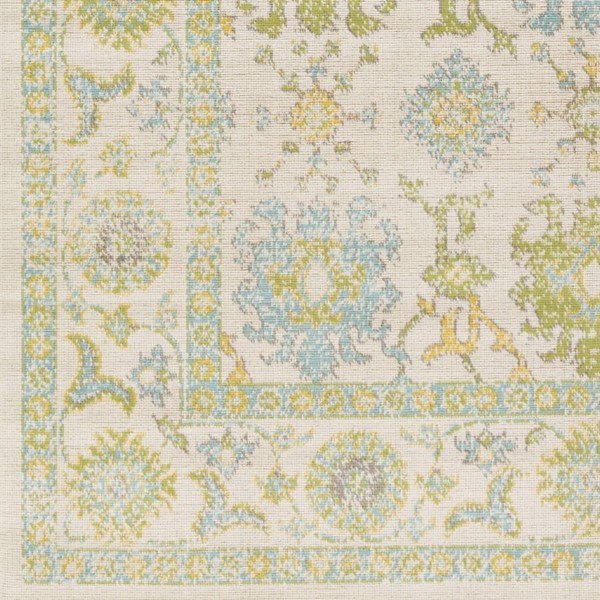 Surya Mavrick Ivory Sky Blue Lime Machine Made Sample Area Rug 18 x 18 MAV7034-1616