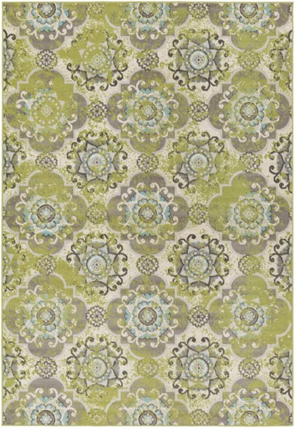 Surya Mavrick Ivory Lime Light Gray Polypropylene Area Rug 126 x 94 MAV7036-710106