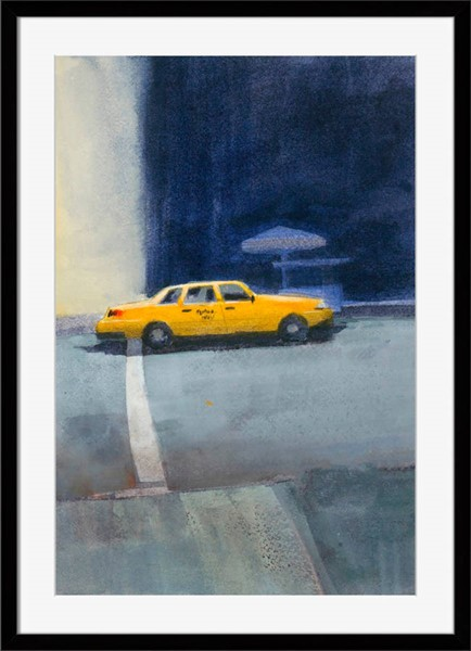 Surya Eternal Paper Yellow Cab Wall Art - 22x28 MB142A001-2228