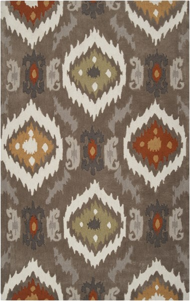 Mamba Gray Olive Rust Polyester Area Rug - 60 x 96 MBA9001-58
