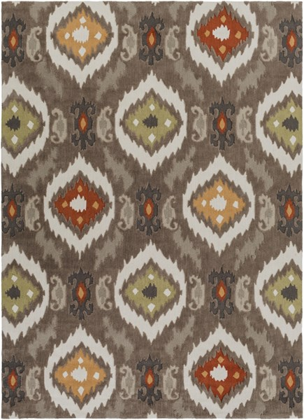 Mamba Gray Olive Rust Polyester Area Rug - 96 x 132 MBA9001-811