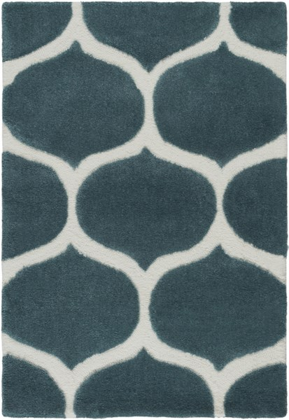 Mamba Contemporary Teal Ivory Polyester Area Rug (L 36 X W 24) MBA9020-23