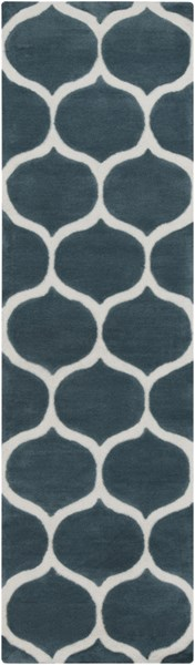 Mamba Contemporary Teal Ivory Polyester Runner (L 96 X W 30) MBA9020-268