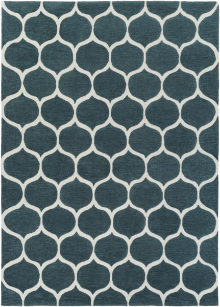 Mamba Contemporary Teal Ivory Polyester Area Rug (L 132 X W 96) MBA9020-811
