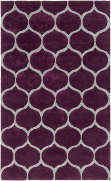 Mamba Contemporary Violet Light Gray Polyester Area Rug (L 96 X W 60) MBA9021-58