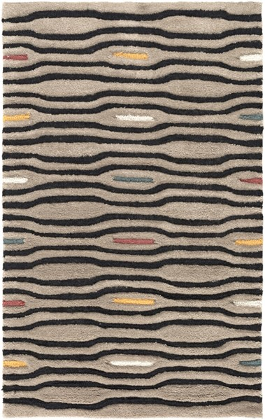 Mamba Contemporary Gray Black Ivory Polyester Area Rugs 810-VAR1