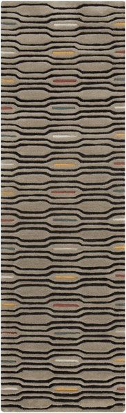 Mamba Contemporary Gray Black Ivory Polyester Runner (L 96 X W 30) MBA9027-268