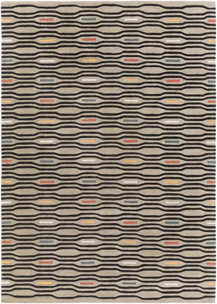 Mamba Contemporary Gray Black Ivory Polyester Area Rug (L 132 X W 96) MBA9027-811