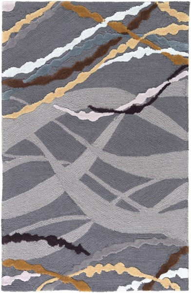 Mamba Modern Charcoal Gray Violet Polyester Area Rug (L 36 X W 24) MBA9041-23