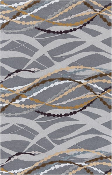 Mamba Modern Charcoal Gray Violet Polyester Area Rug (L 96 X W 60) MBA9041-58