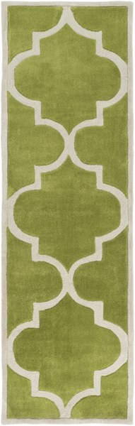 Mamba Contemporary Lime Light Gray Polyester Runner (L 96 X W 30) MBA9064-268