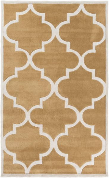Mamba Contemporary Burnt Orange Ivory Polyester Area Rug (L 96 X W 60) MBA9065-58