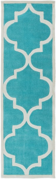 Mamba Contemporary Teal Light Gray Polyester Runner (L 96 X W 30) MBA9068-268