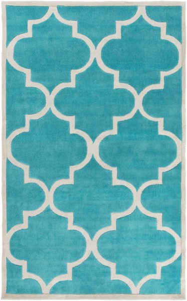 Mamba Contemporary Teal Light Gray Polyester Area Rug (L 96 X W 60) MBA9068-58