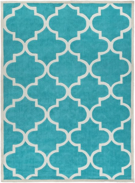 Mamba Contemporary Teal Light Gray Polyester Area Rug (L 132 X W 96) MBA9068-811