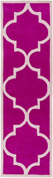 Mamba Contemporary Hot Pink Gray Polyester Runner (L 96 X W 30) MBA9069-268