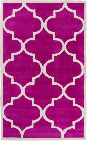 Mamba Contemporary Hot Pink Gray Polyester Area Rug (L 96 X W 60) MBA9069-58