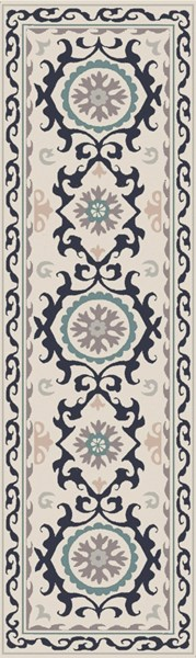 Mamba Charcoal Teal Light Gray Polyester Runner - 30 x 96 MBA9071-268