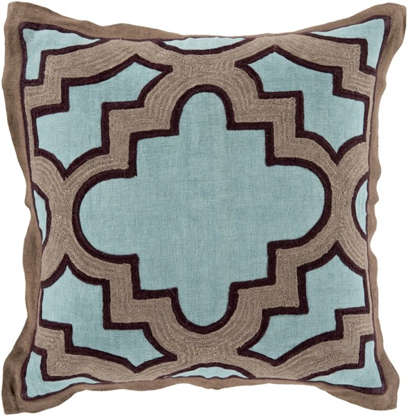 Maze Teal Taupe Black Down Cotton Throw Pillow (L 18 X W 18 X H 4) MCO001-1818D