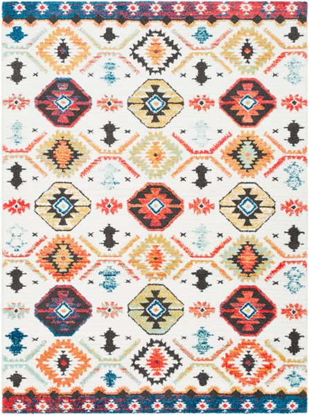 Surya Moroccan Shag Bright Orange White Charcoal Polyester Rugs MCS2300-RUG-VAR