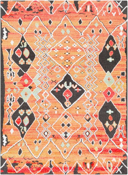 Surya Moroccan Shag Aqua Bright Orange Yellow Polyester Area Rug 87 x 63 MCS2304-5373