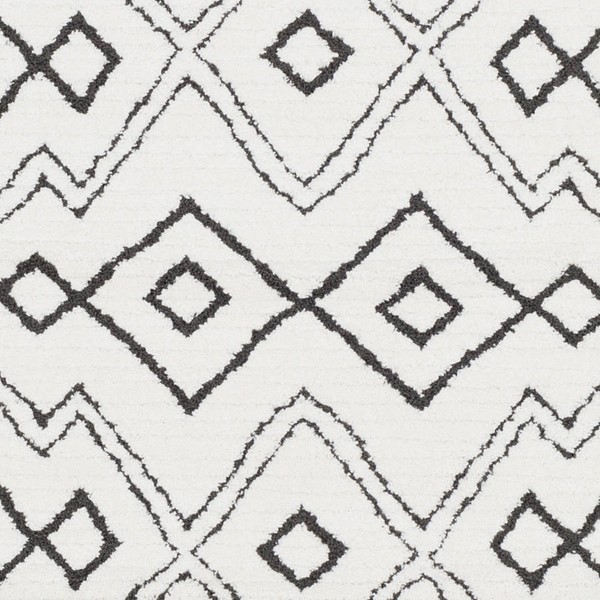 Surya Moroccan Shag Charcoal White Black  Polyester Sample Area Rug 18 x 18 MCS2308-1616