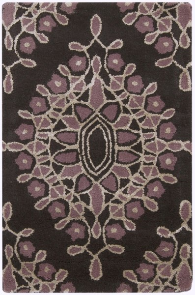 Moderne Contemporary Charcoal Eggplant Beige Wool Rugs 1468-VAR1