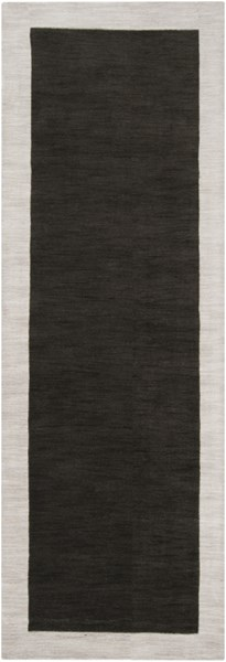 Madison Square Contemporary Black Light Gray Wool Runner (L 96 X W 30) MDS1004-268