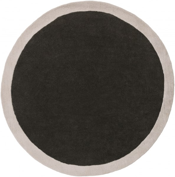 Madison Square Black Light Gray Wool Round Area Rug - 72 x 72 MDS1004-6RD