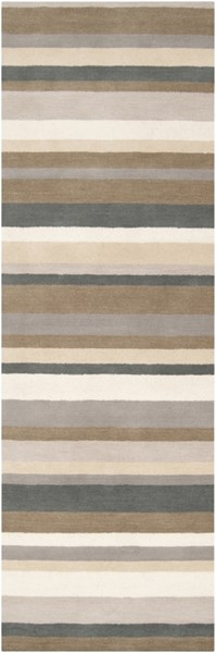 Madison Square Contemporary Beige Light Gray Wool Runner (L 96 X W 30) MDS1006-268