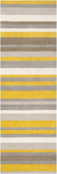 Madison Square Contemporary Gold Ivory Gray Wool Runner (L 96 X W 30) MDS1008-268
