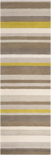Madison Square Contemporary Beige Lime Gray Wool Runner (L 96 X W 30) MDS1009-268